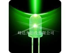 F5mm白发翠绿光 绿光圆头超亮发光二极管-- 深圳市峰达光科技有限公司
