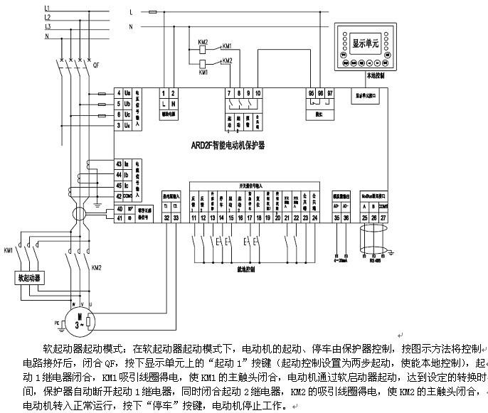 90l显示单元按键本地控制,di端就地控制,上位机通讯远程控制.