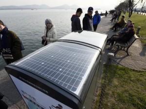 太阳能智能垃圾箱亮相西湖 (8)
