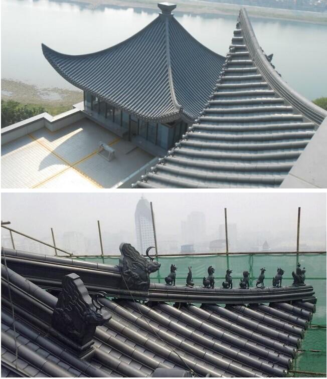 河南寺庙收费站景区建筑铝合金仿古瓦 1.0厚铝筒板瓦 吻兽-- 浙江金展钢品制造有限公司